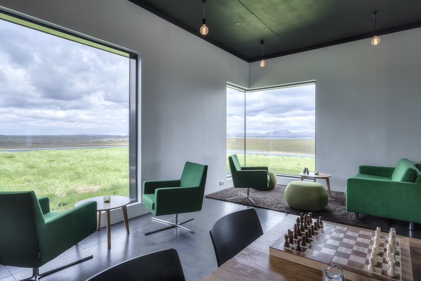 At Hótel Laxá, relax in a minimalistic, industrial-chic atmosphere with impeccable views.