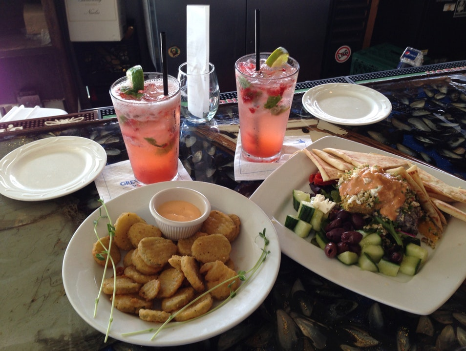 Strawberry Mojito and Fried Pickles