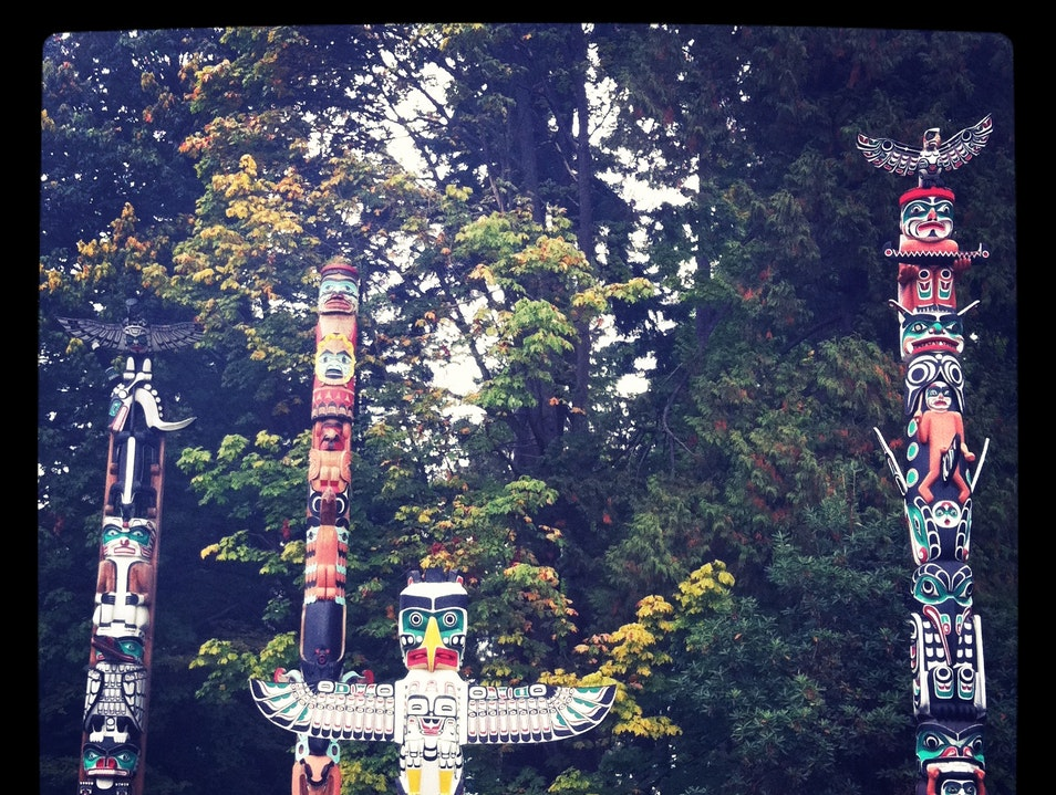 Totems in Stanley Park Vancouver  Canada