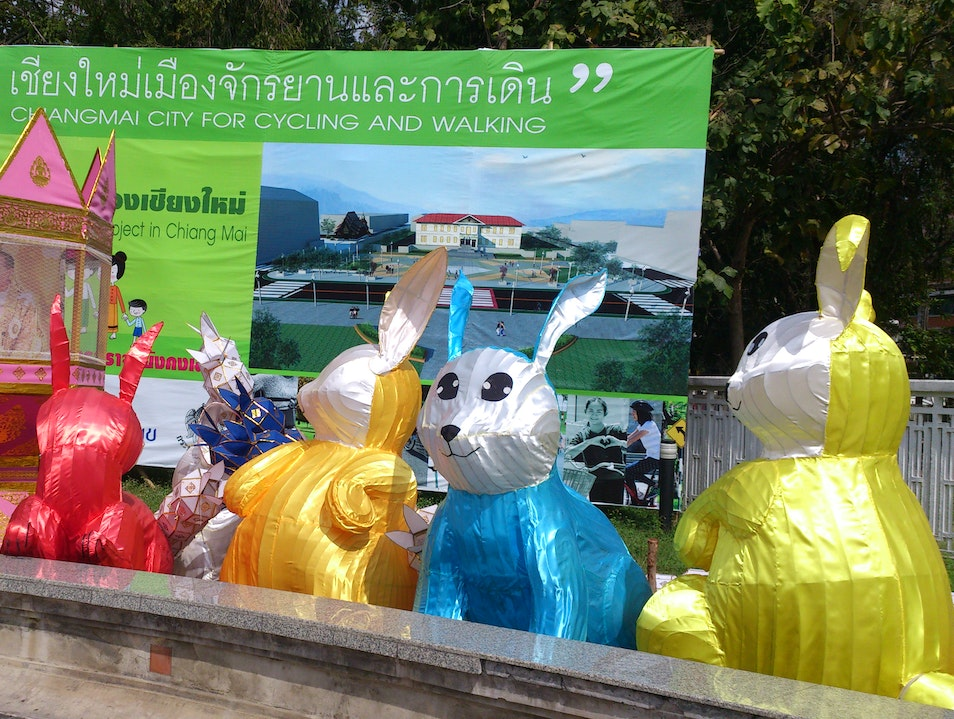 Strange creatures in town for Loy Krathong Chiang Mai  Thailand