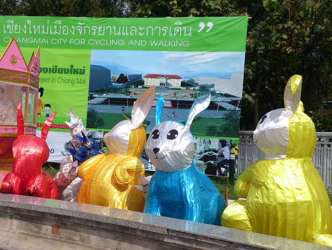 Strange creatures in town for Loy Krathong