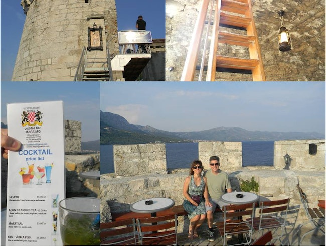 A bar on top of a turret with an amazing view in Korcula