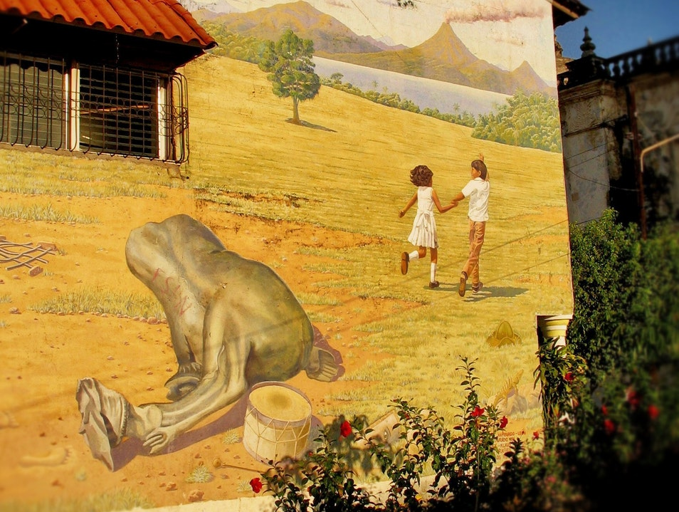 Looking ahead in 'The Land of Lakes and Volcanoes'--a mural in León León  Nicaragua