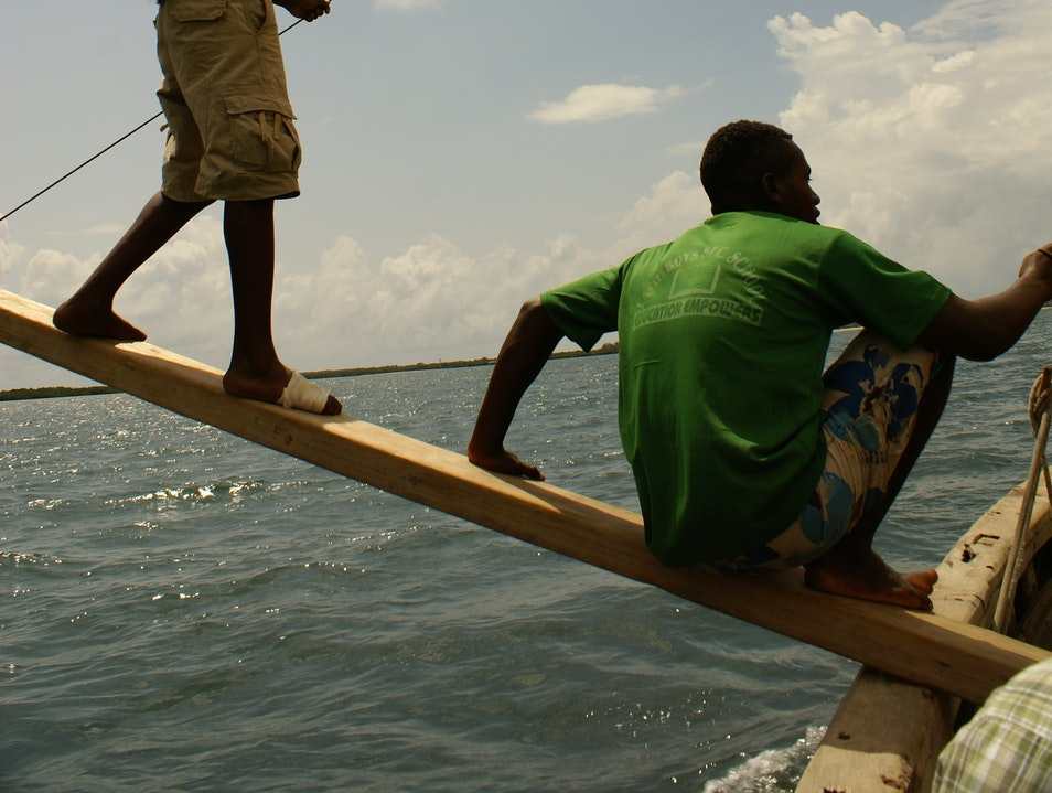 Riding a dhow in Lamu Shela  Kenya