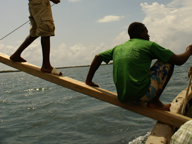 Riding a dhow in Lamu