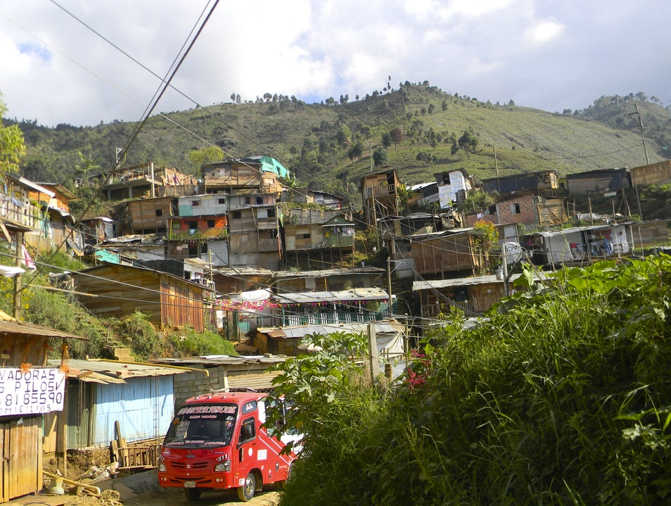 Humble abodes of impoverished families  Bello  Colombia