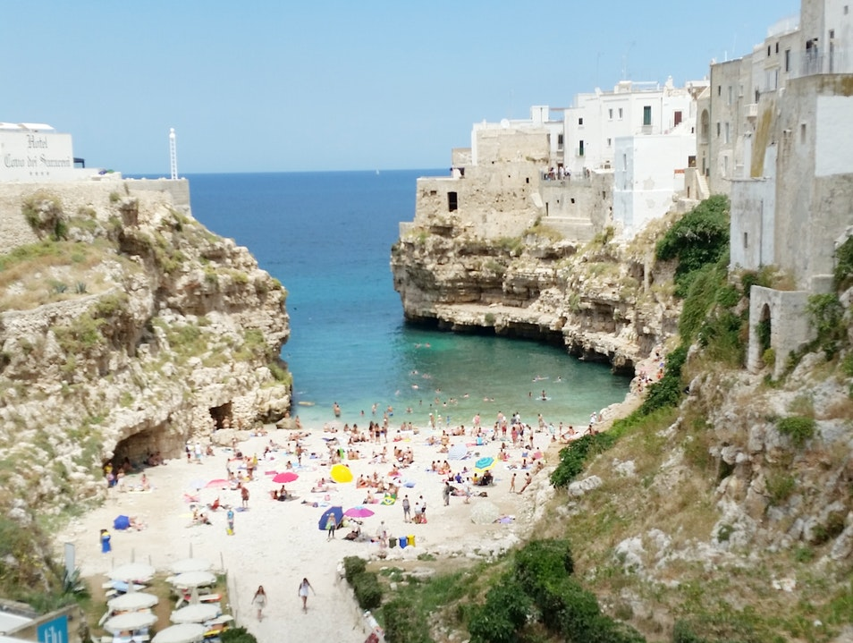 Fun Beach Right in the Middle of Town Polignano A Mare  Italy