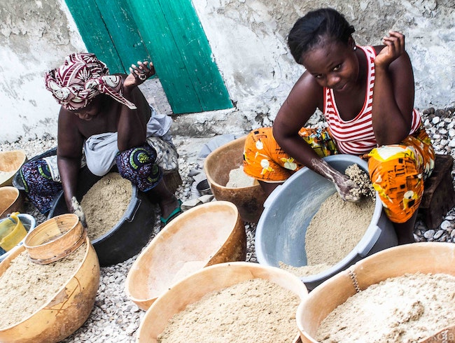 Island women making local CousCous … also known as Thierre