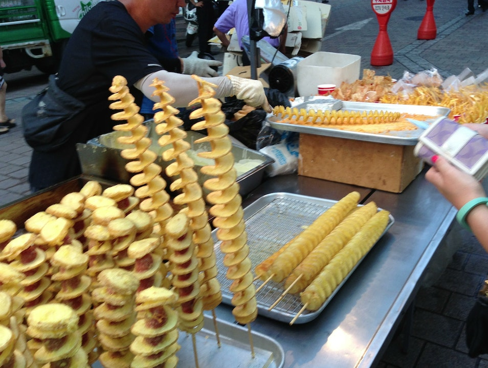 Fried potato heaven in Myeong-dong Seoul  South Korea