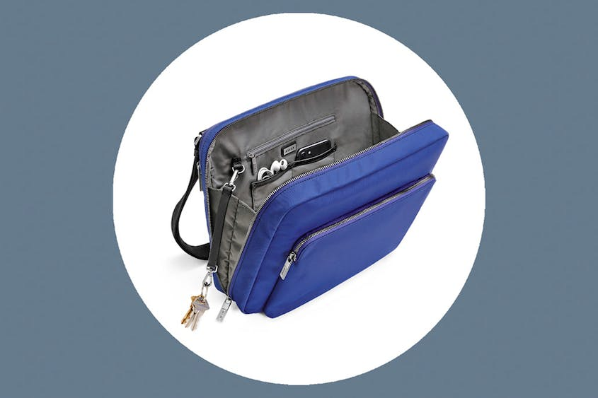 The Messenger Bag can fit computers up to 13 inches and comes in Black and Cobalt.