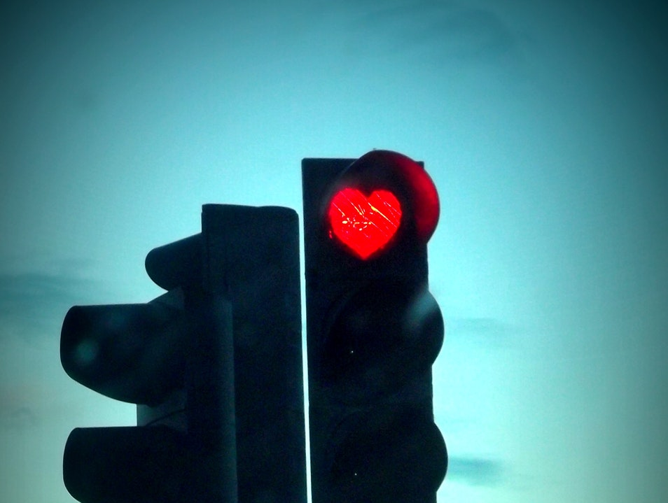 Heart shaped red lights Akureyri  Iceland