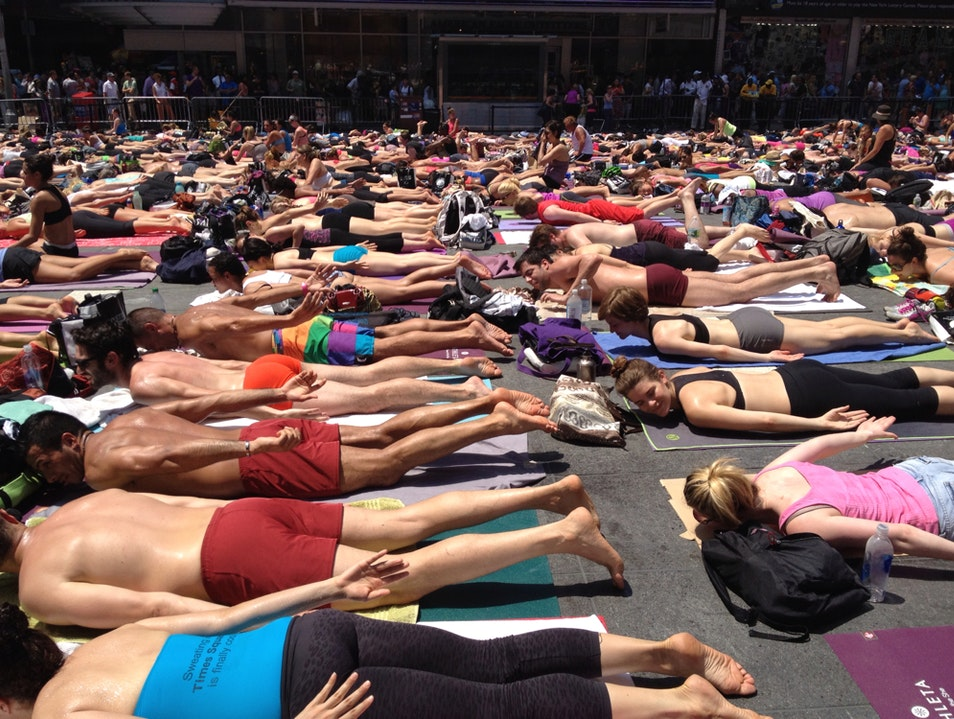 It's 95 Degree Yoga In Times Square New York New York United States