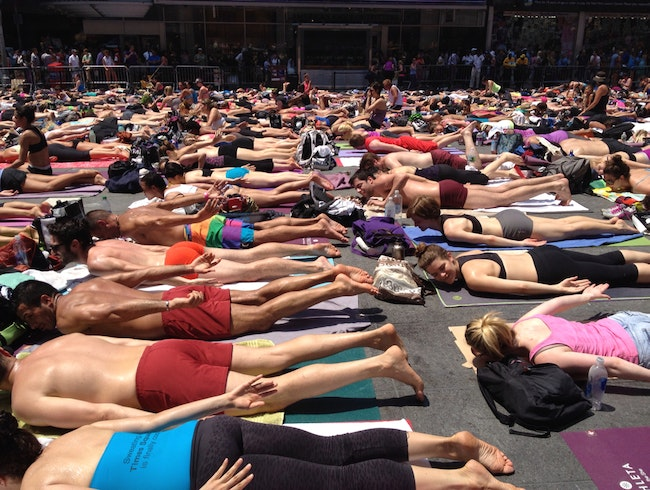It's 95 Degree Yoga In Times Square