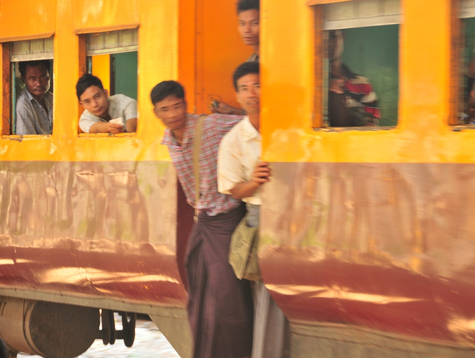 Ride the Circle Train in Burma Rangoon  Myanmar