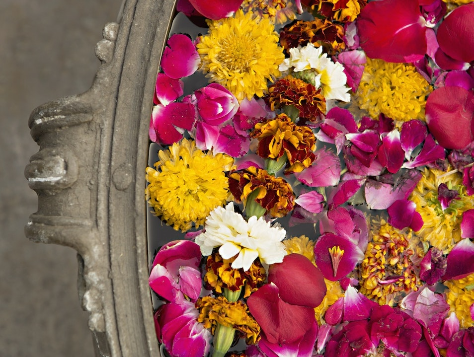flowers in a stone bowl