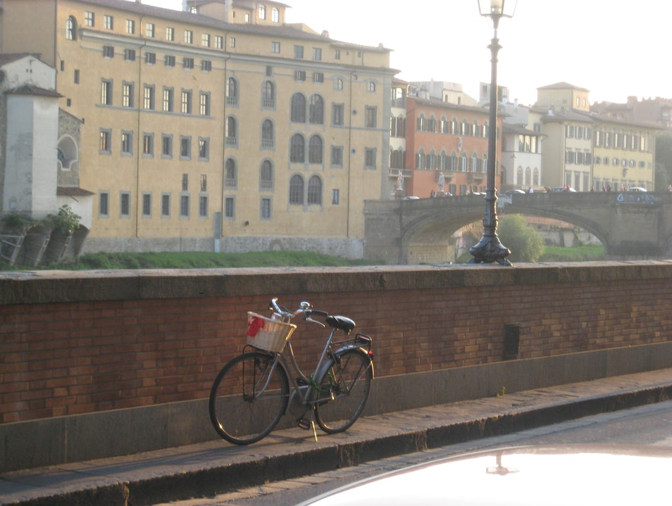 Alone on the way to the Ponte Vecchio Florence  Italy