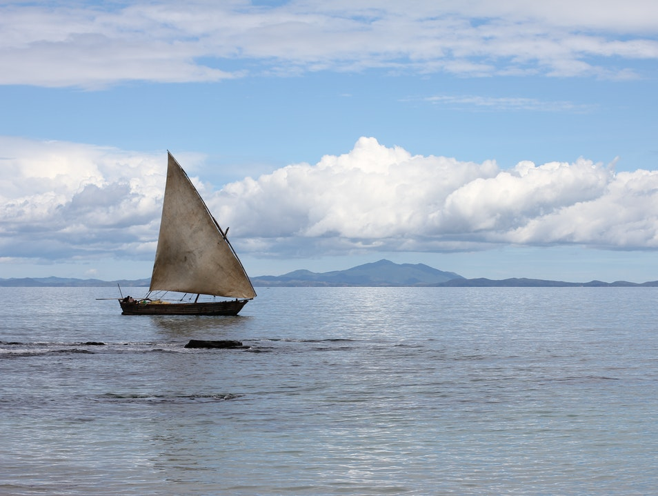 Sails on smooth water Nosy-Be  Madagascar
