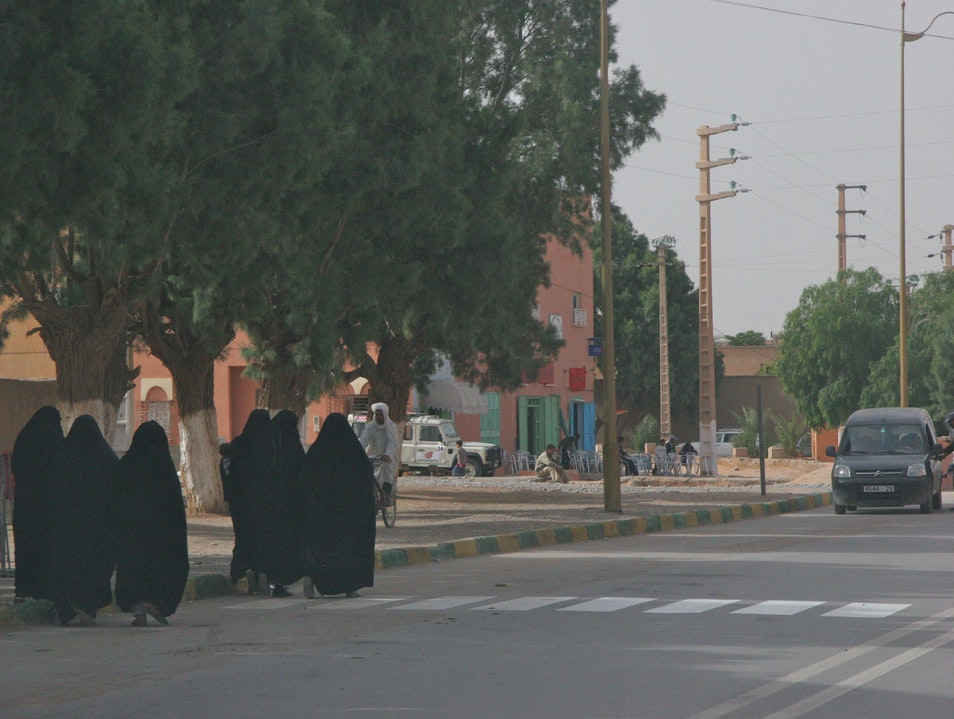 A group of women on the street. Erfoud  Morocco