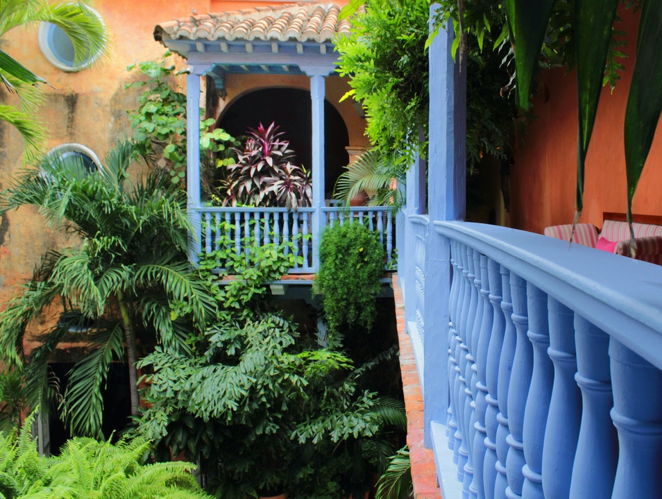 Second Floor Blue Railing Cartagena  Colombia