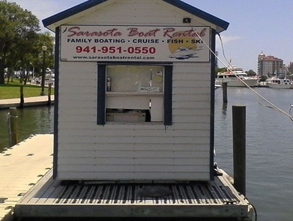 Boat rentals are available at the edge of downtown Sarasota