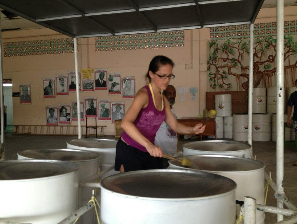 Playing the steelpan at Gill's Pan Shop Tabaquite  Trinidad and Tobago