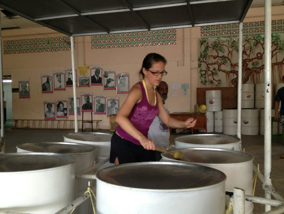 Playing the steelpan at Gill's Pan Shop