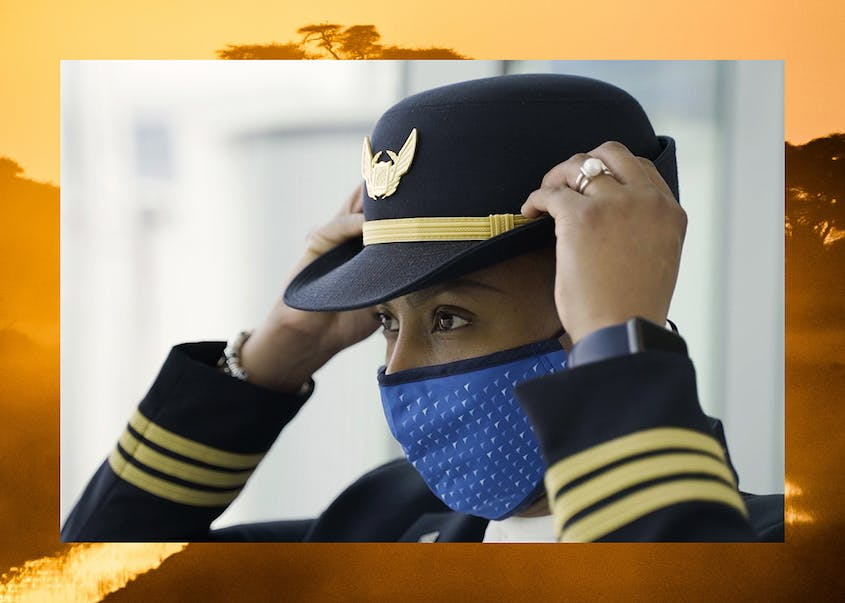 First Officer Gabrielle Harding, a pilot for United, puts on her uniform. In the U.S., just 7 percent of pilots are women.