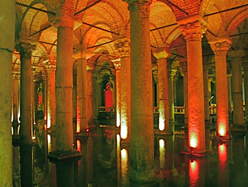 The old Cistern under the Sultanahmet Istanbul  Turkey