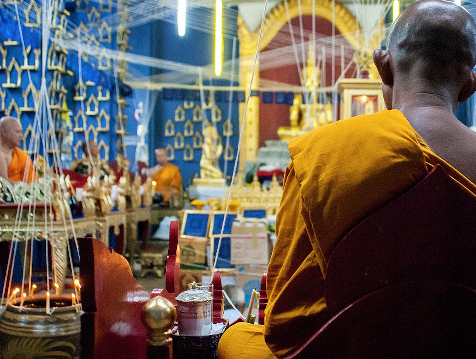 Chanting in The New Temple - Theravada Buddhist Adventure