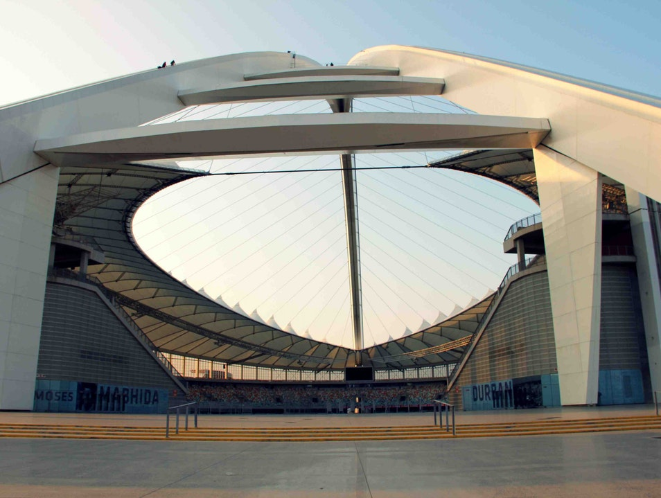 Climbing to the top of the arch at Durban's Moses Mabhida Stadium Durban  South Africa