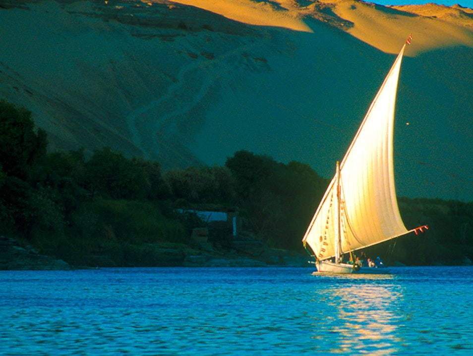 A relaxing trip on the River Nile at Aswan in a Felucca. Aswan  Egypt