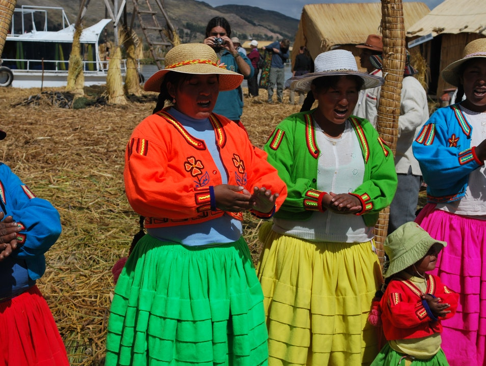 Floating on Lake Titicaca with the Uros Tribe Puno  Peru