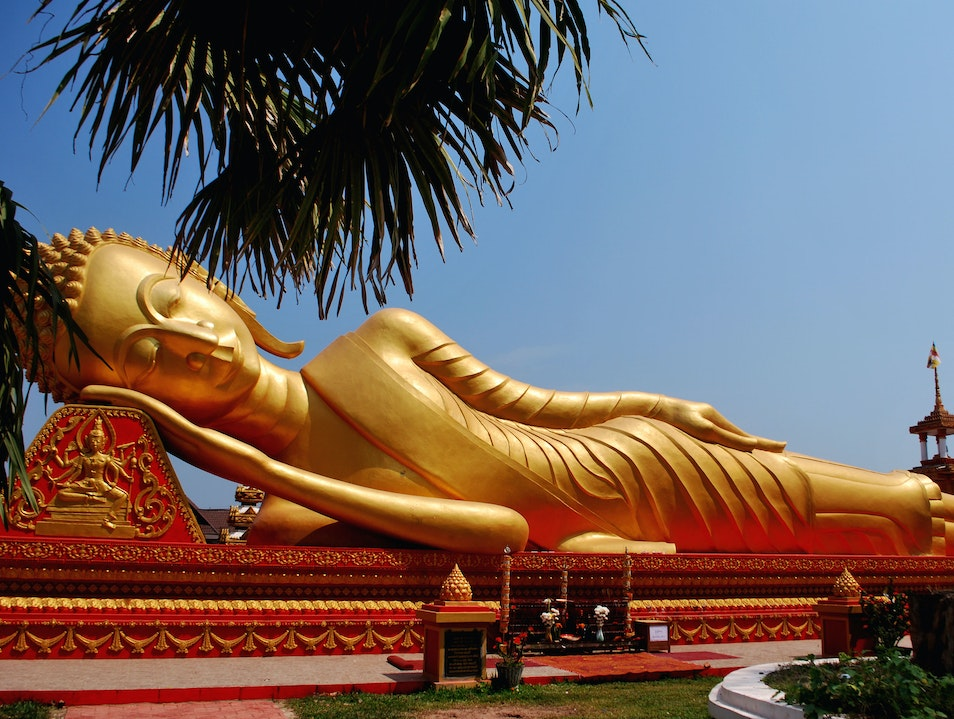 The Gold Reclining Buddha Vientiane  Laos
