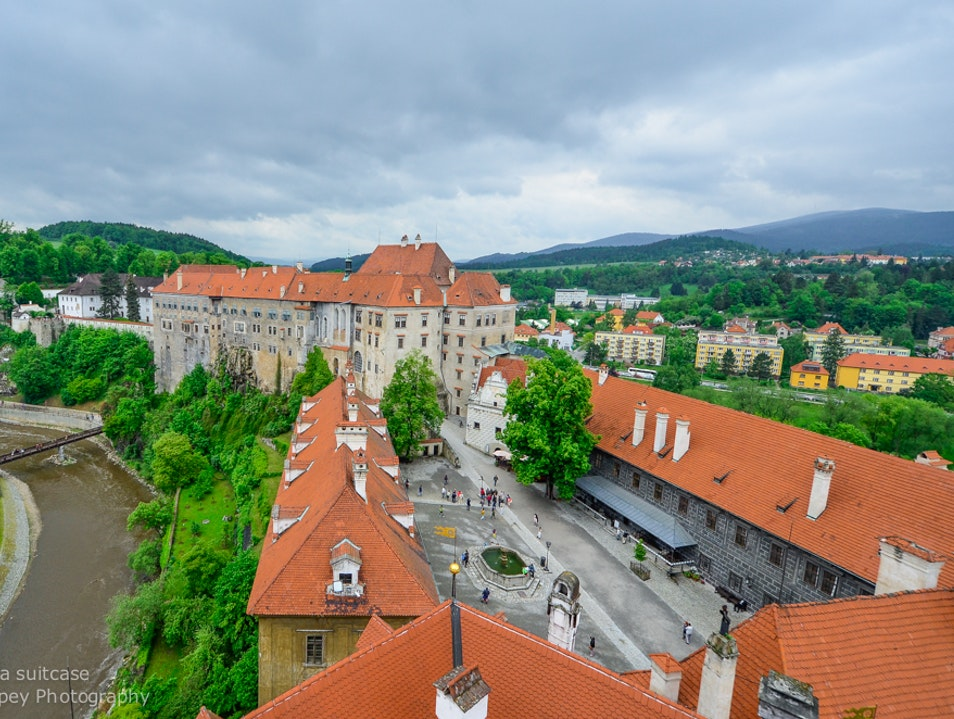 View from the castle tower  Cesky Krumlov  Czech Republic