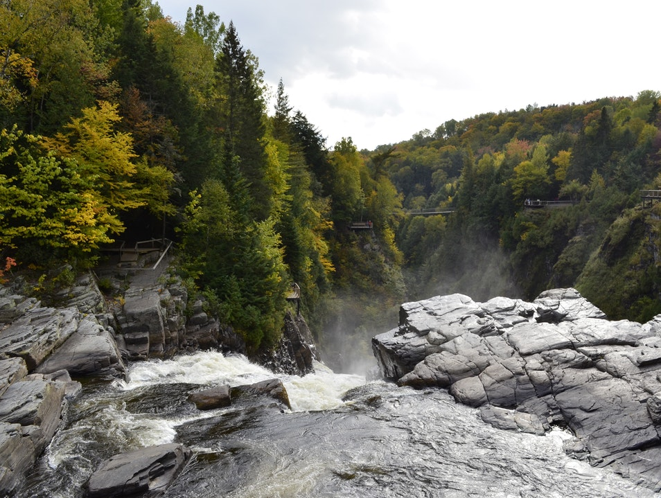 Beautiful waterfall hikes 30 minutes from Quebec City Beaupré  Canada