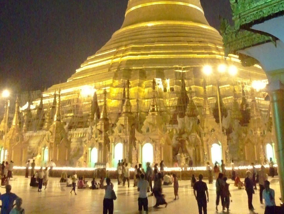 Shwedagon Pagoda at night Yangon  Myanmar