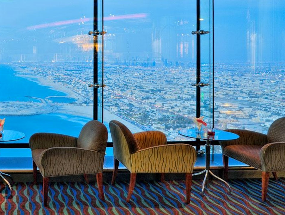 Views and Eclectic Cocktails in the Burj Al Arab Skyview Bar Dubai  United Arab Emirates