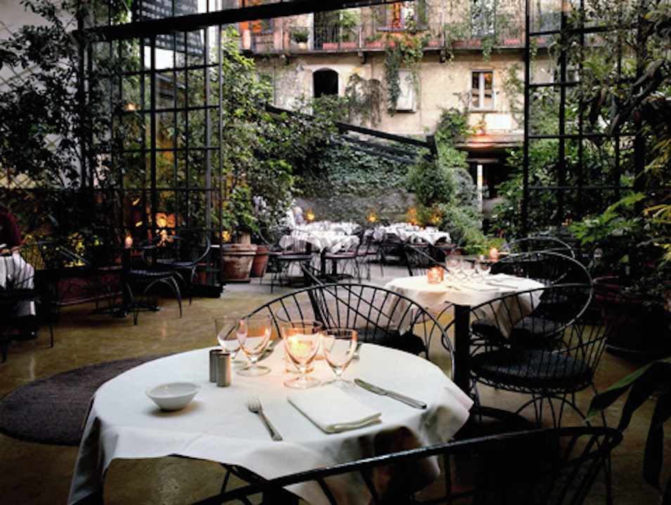 Modern Art and a Garden Cafe  Milan  Italy