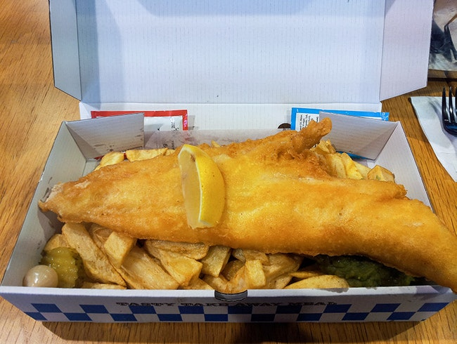 Delicious world famous fish and chips!