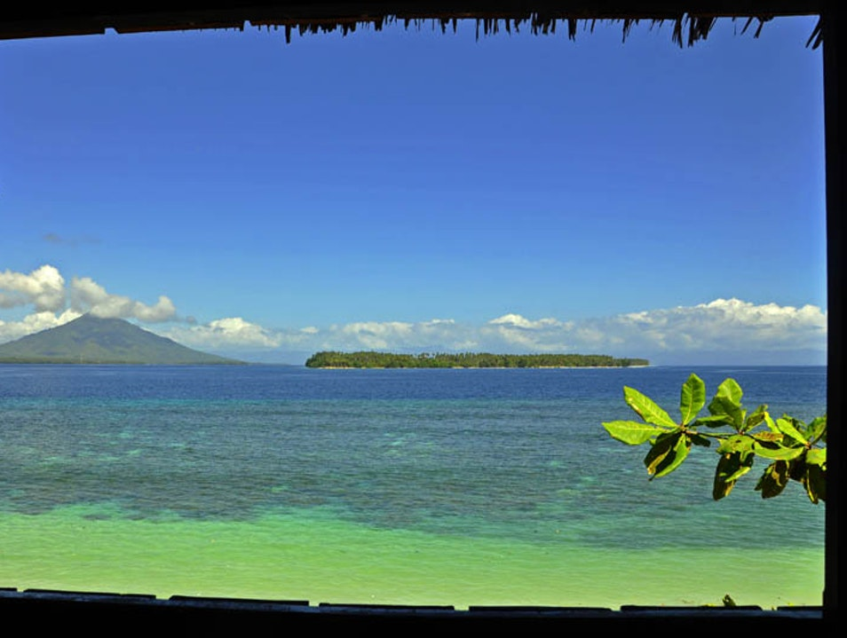 Overlooking Halmahera Island from Tagalaya Island's lookout tower Tobelo  Indonesia