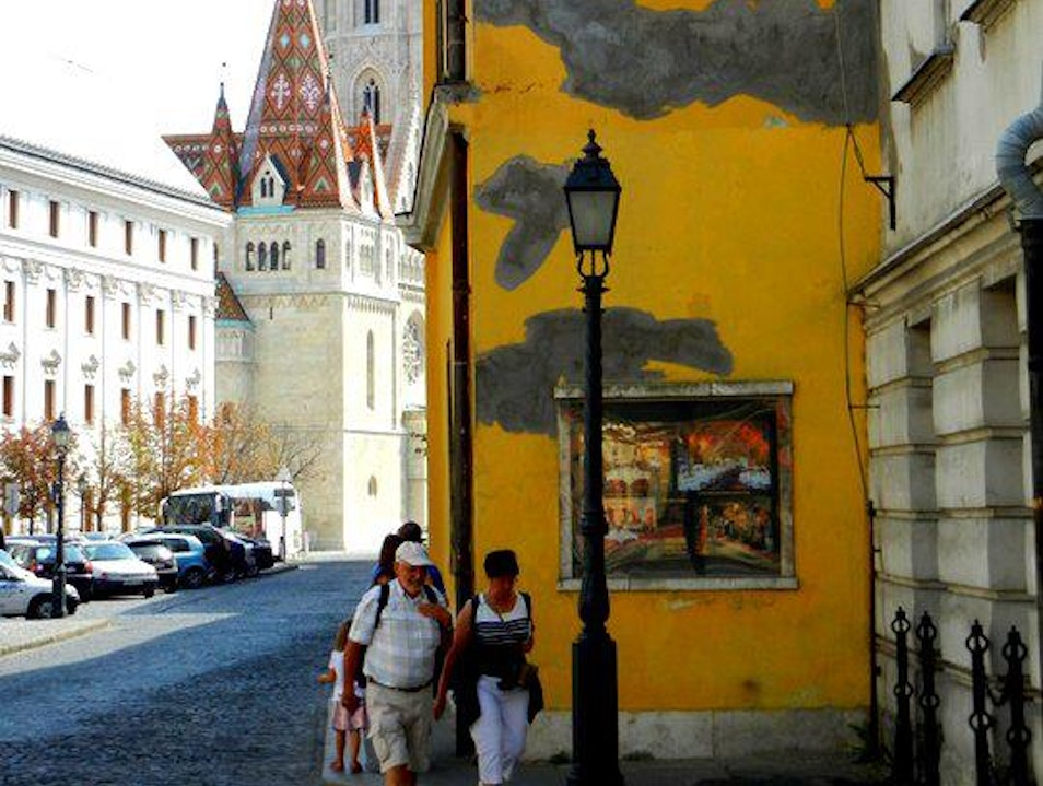 Discovering yellow cracked walls in Budapest Budapest  Hungary