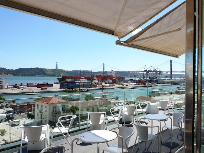 A view over the Tagus River through a glass cube