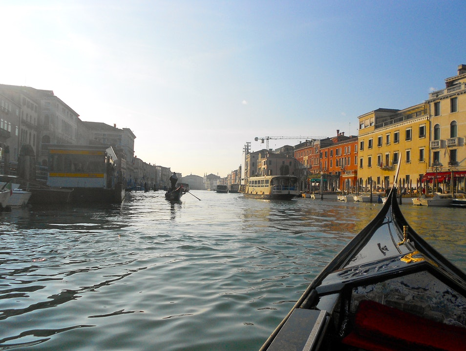 Grand Canal in a Gondola Venice  Italy