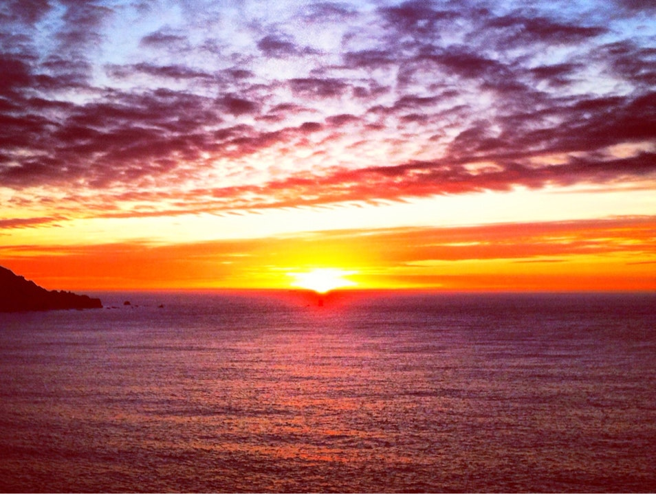 Sunset from Battery Chamberlin above Baker Beach San Francisco California United States