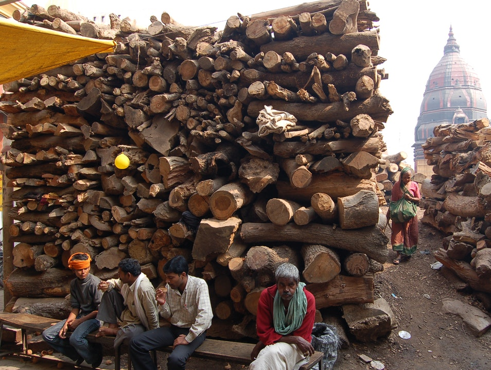 Wood ready for burning Varanasi  India