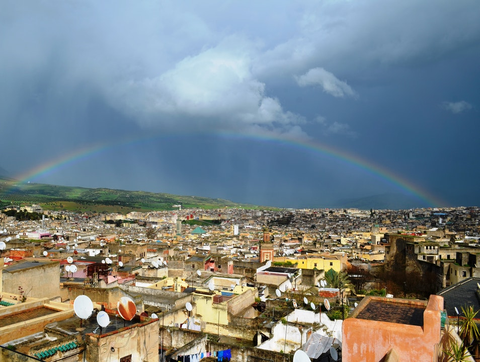 Rainbow Over The Medina Fes  Morocco