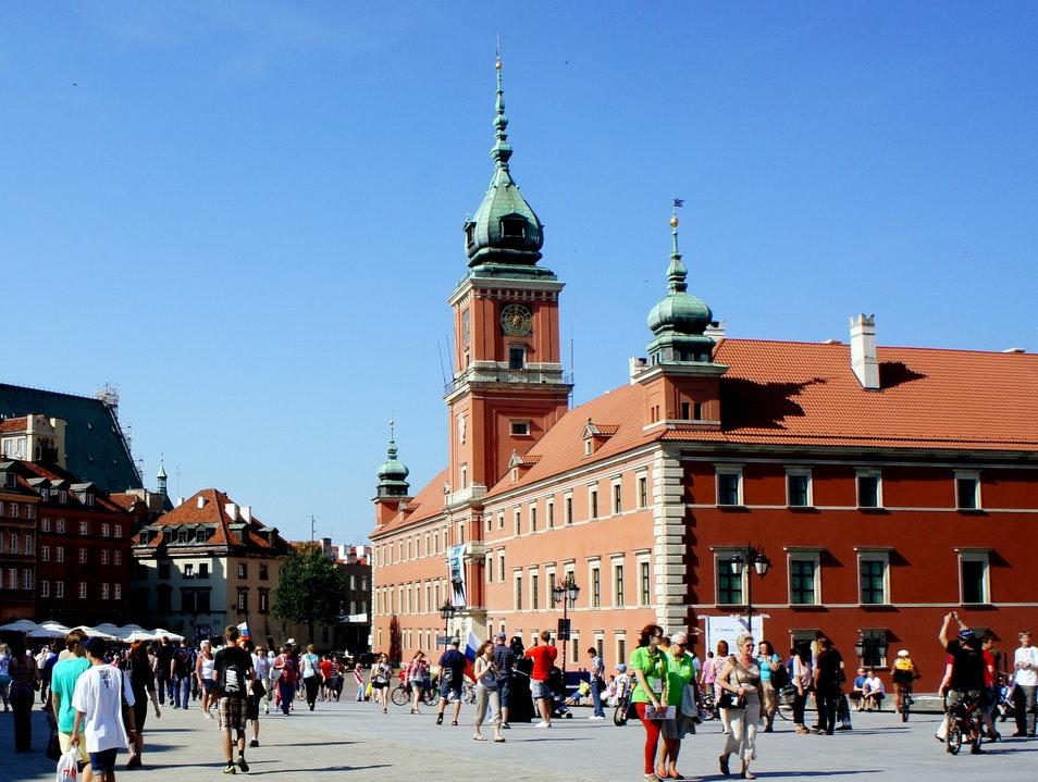 Royal Castle - the Entrance to the Old Town Warsaw  Poland