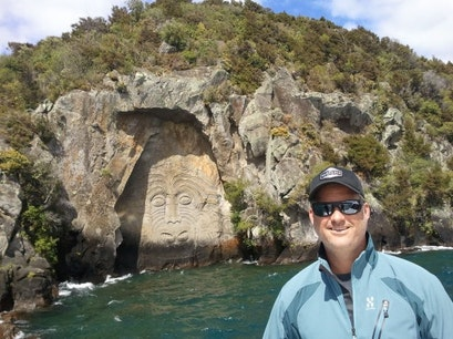 Maori Rock Carvings, Mine Bay Taupo  New Zealand