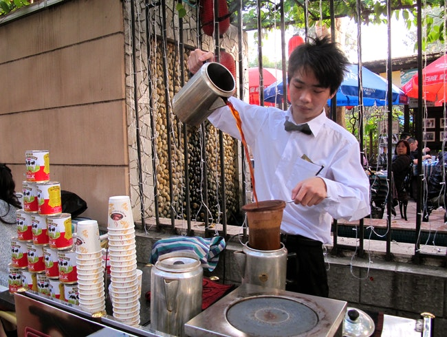 Great 'pulled' milk tea in a colonial setting