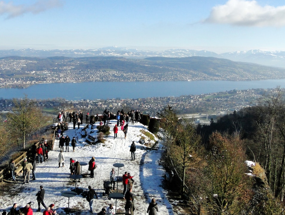 Awesome view from Top of Zurich at the Uetliberg Stallikon  Switzerland